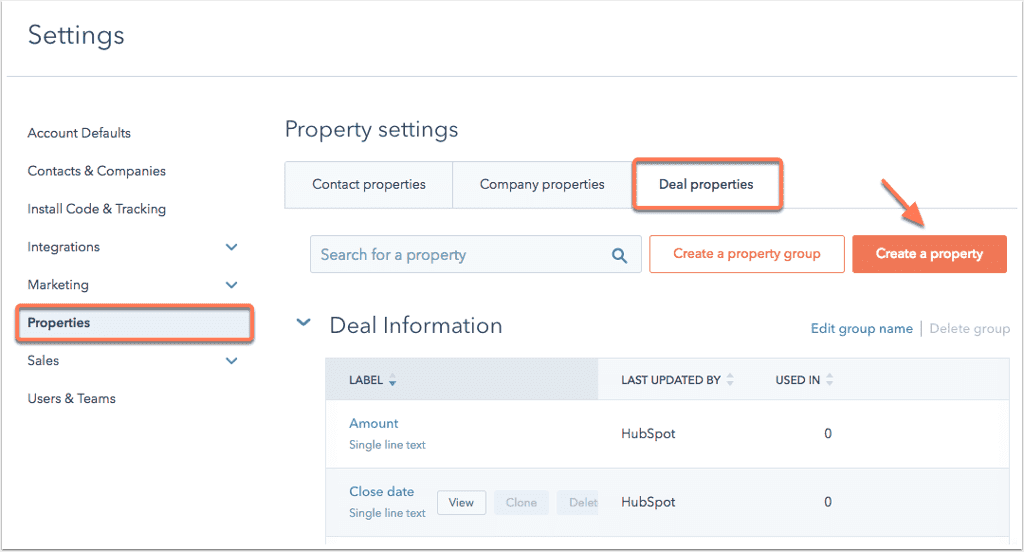 HubSpot individual deal properties